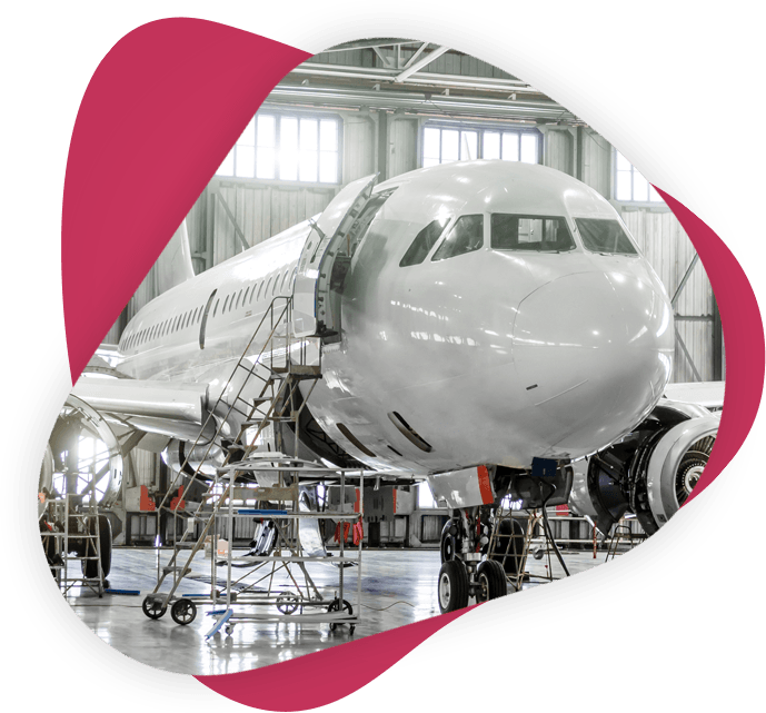 Aircraft undergoing maintenance